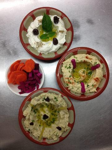 Lebanese Labni homos and batenjen plate